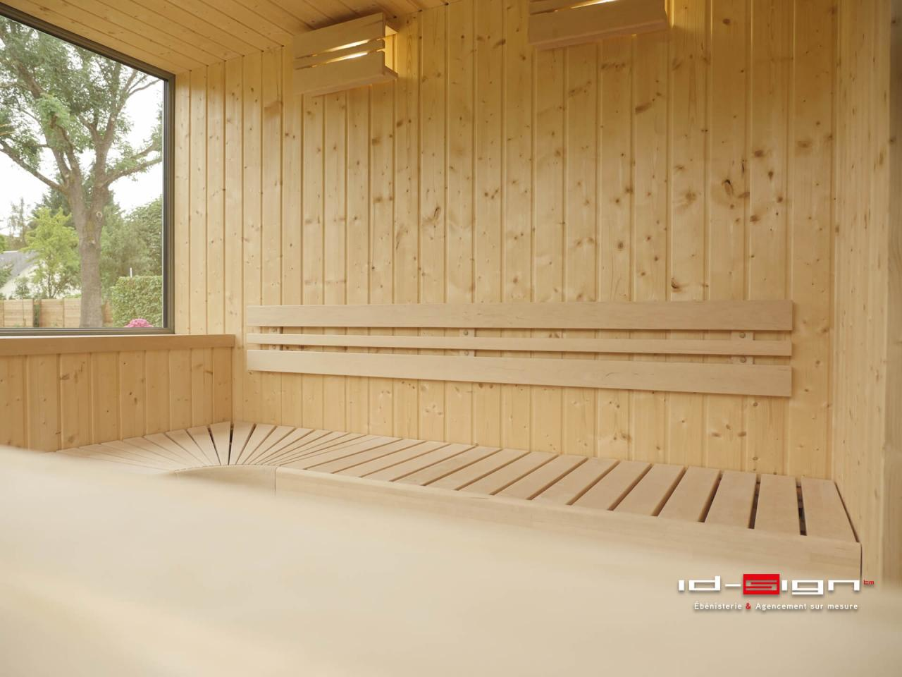 cr ations de sauna en bois sur mesure par id sign. Black Bedroom Furniture Sets. Home Design Ideas