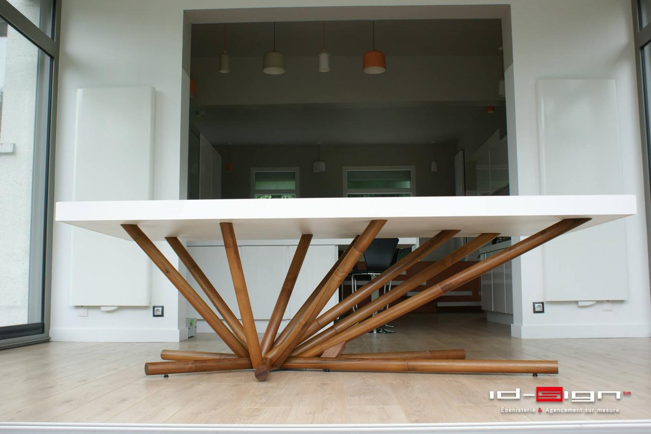 Table originale en bois et corian